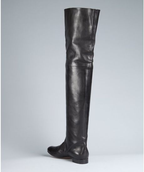 Celine Black Leather Thigh High Flat Boots In Black Lyst