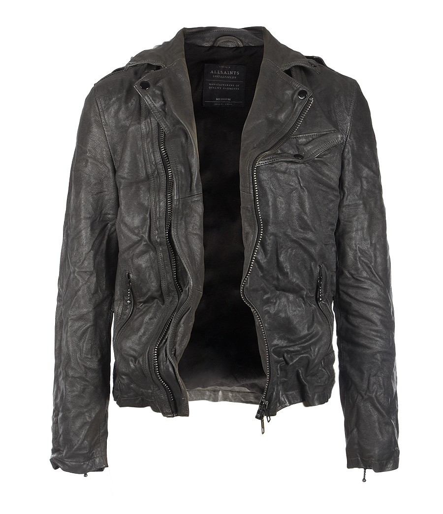AllSaints Axis Leather Biker in Anthracite (Grey) for Men