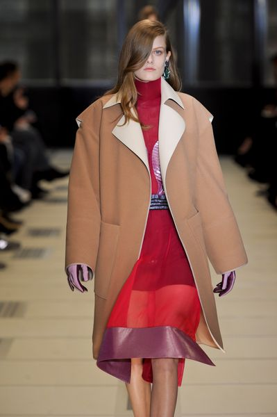 Balenciaga Fall 2012 Brown Long Coat With Large Pockets & Wide Sleeves in Brown - Lyst