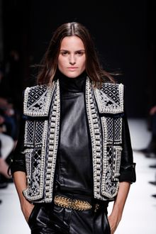 Balmain Fall 2012 Heavily Embellished Collar-Less Structured Gilet In Silver And Black  - Lyst