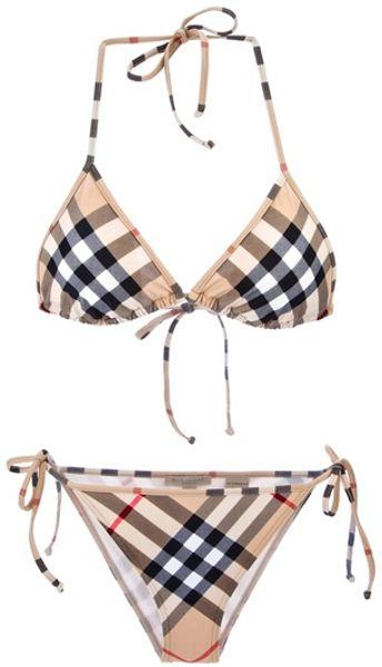 Burberry Brit Checked Bikini In Beige Nude Lyst