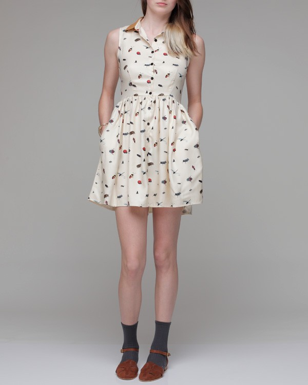 Dusen Dusen Collared Dress In Bug Print In Natural Lyst