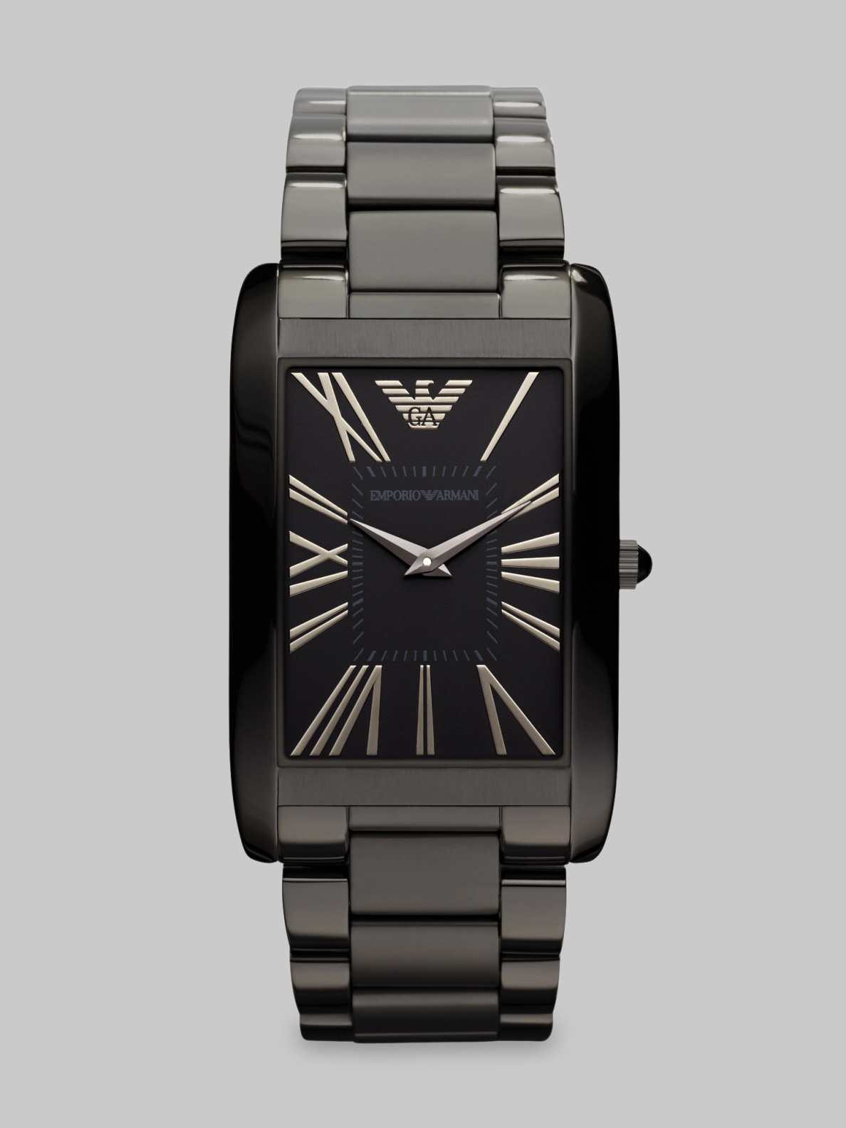 Emporio Armani Stainless Steel Rectangular Watch In