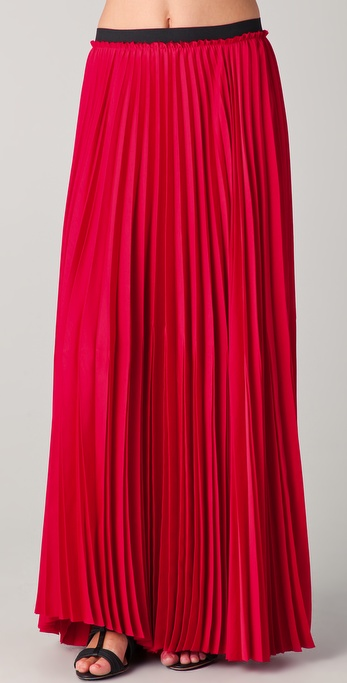 enza costa pleated maxi skirt in lyst