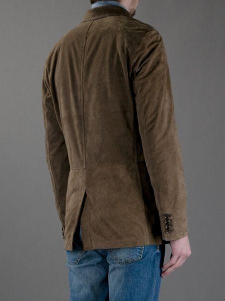 Ermenegildo Zegna Suede Effect Jacket In Brown For Men Lyst