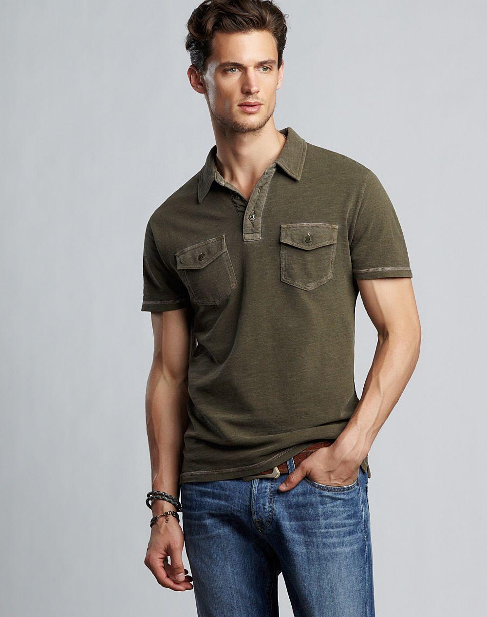 Lucky brand slub pique two pocket polo shirt in green for for Two pocket polo shirt