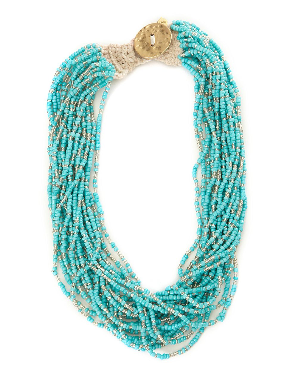 lucky brand turquoise seed bead necklace in blue