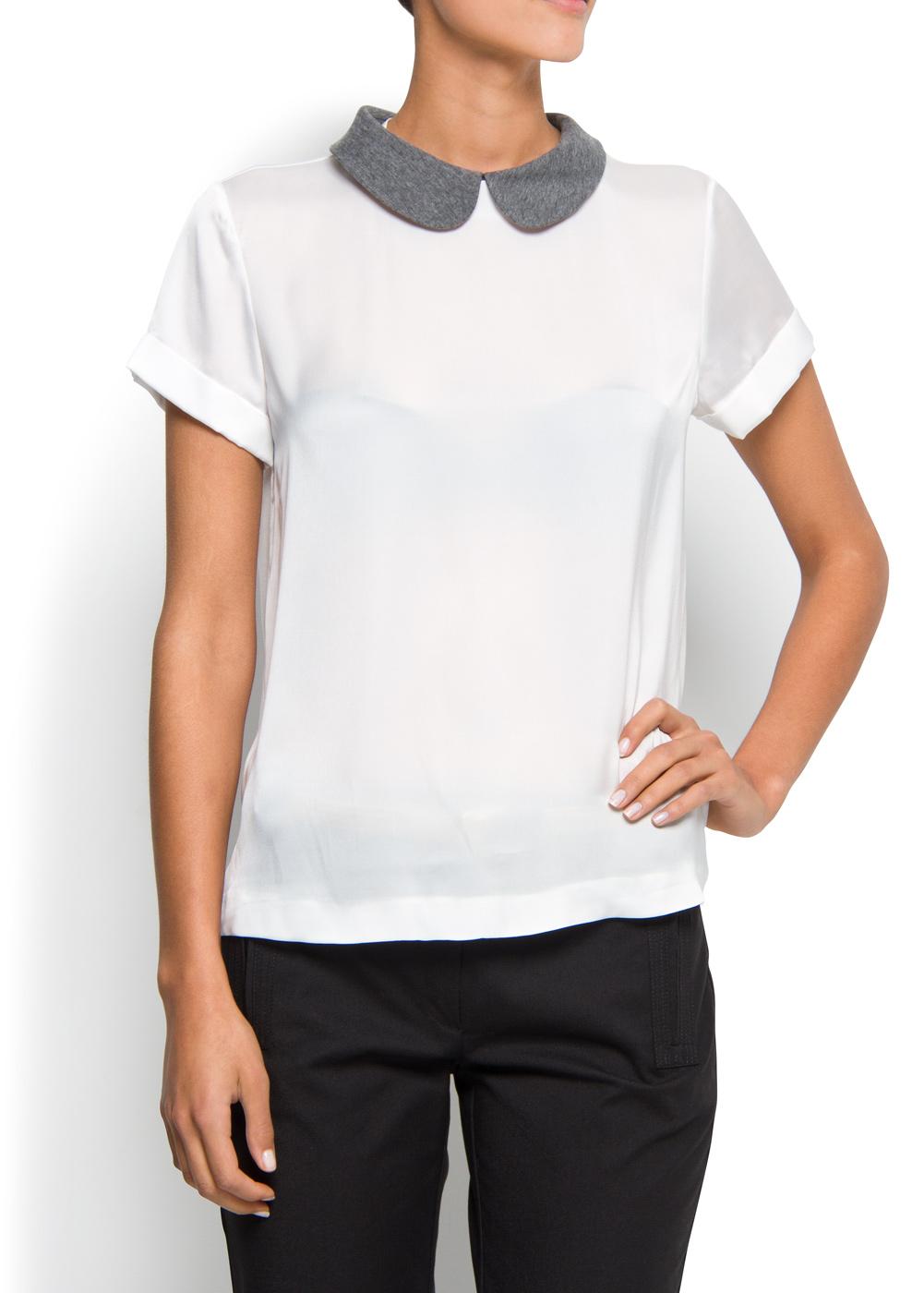 Lyst Mango Peter Pan Collar Blouse In White