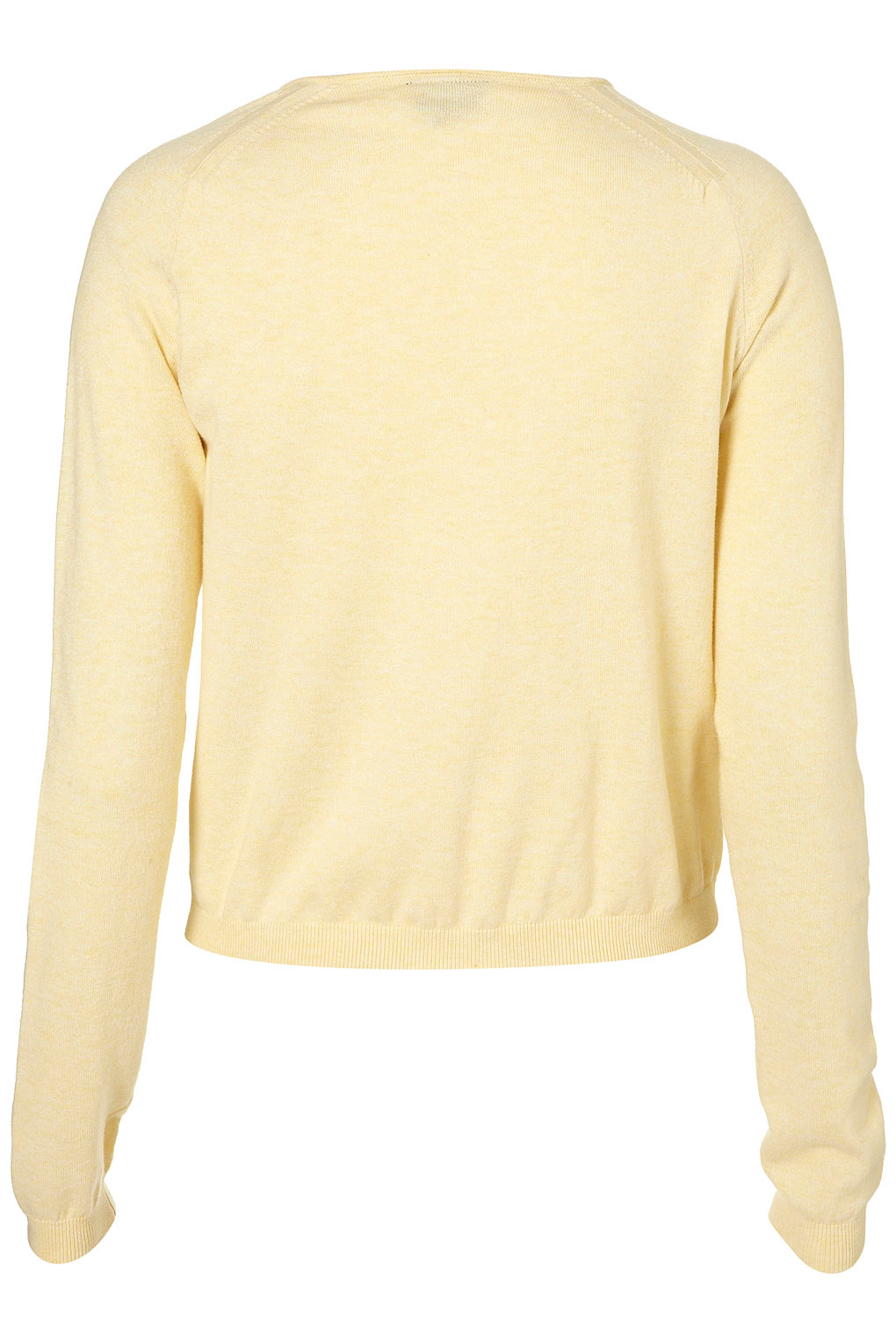 Topshop Knitted Crew Neck Cardigan in Yellow | Lyst