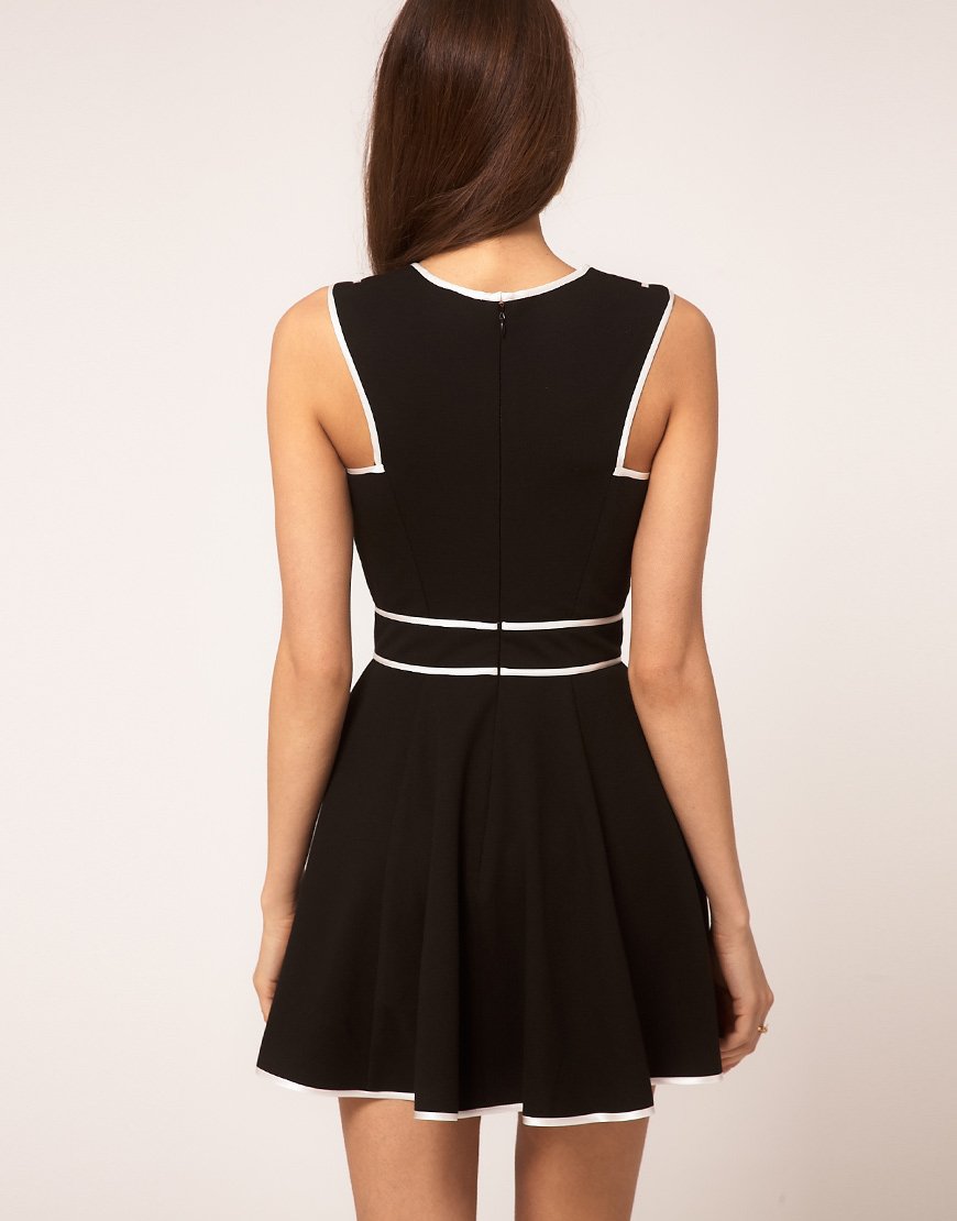 Lyst Asos Skater Dress With Contrast Piping In Black
