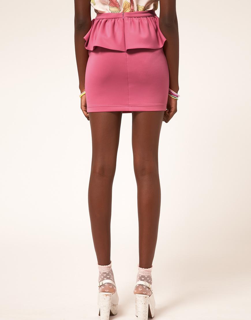 03530281d455a6 ASOS Collection Cute Peplum Mini Skirt in Pink - Lyst