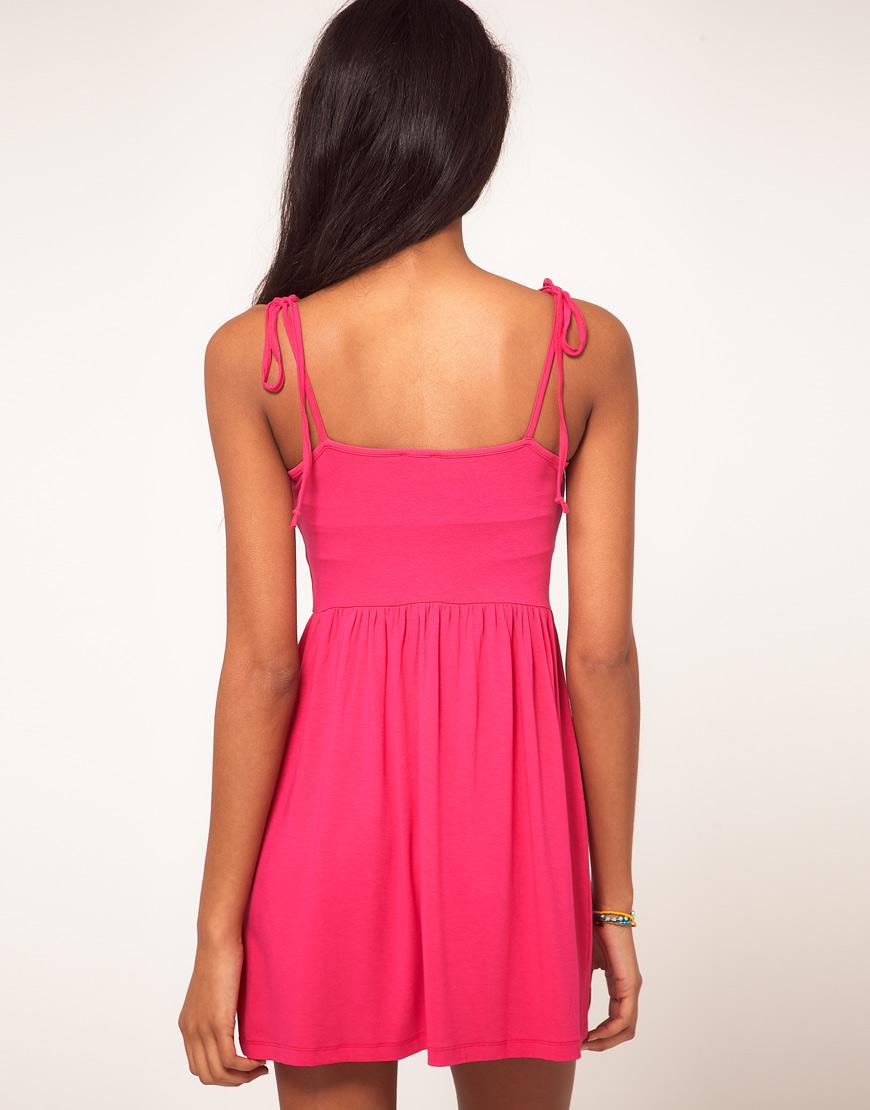 Lyst Asos Summer Dress With Tie Shoulder Straps In Pink
