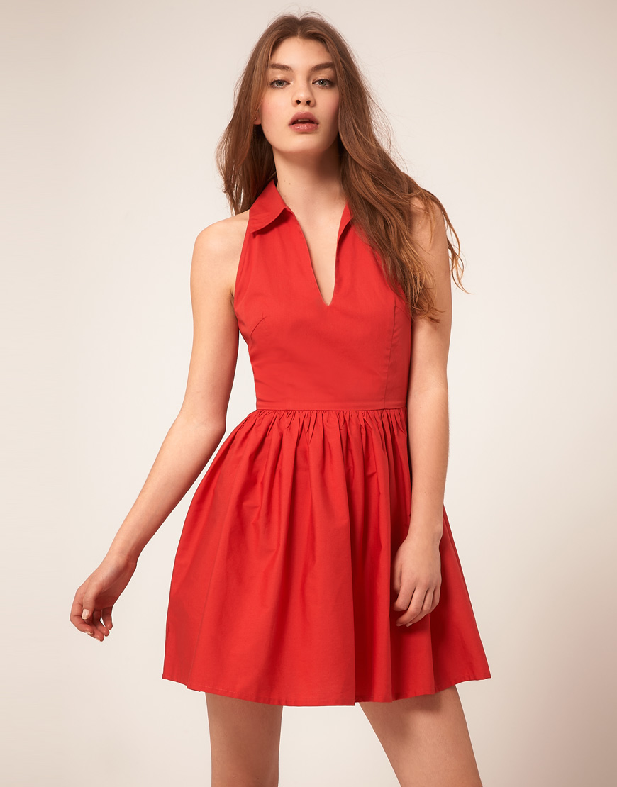 Asos Summer Dress With Collar in Red - Lyst