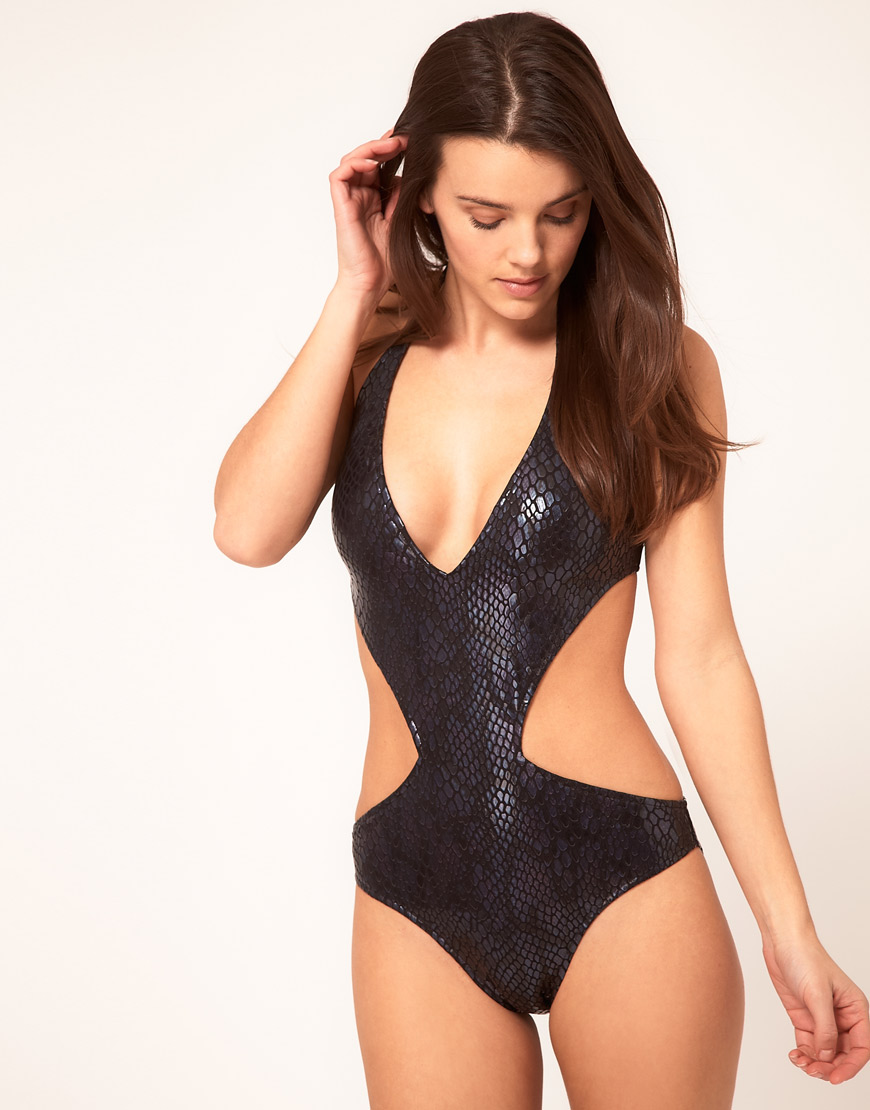 Lyst Asos Asos Plunge Wet Look Snake Cut Out Swimsuit In