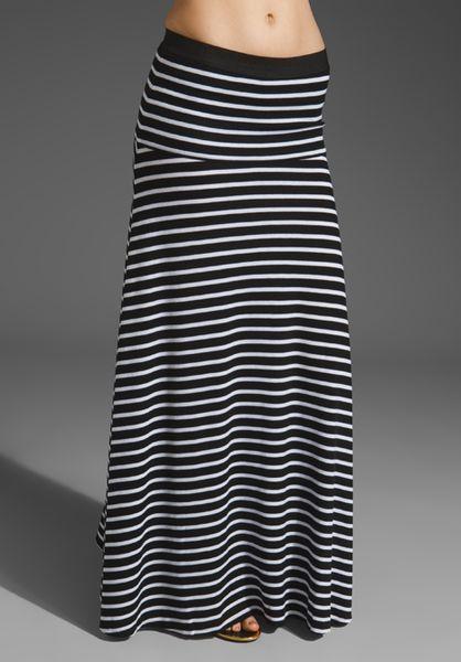 bcbgmaxazria striped maxi skirt in black white in black