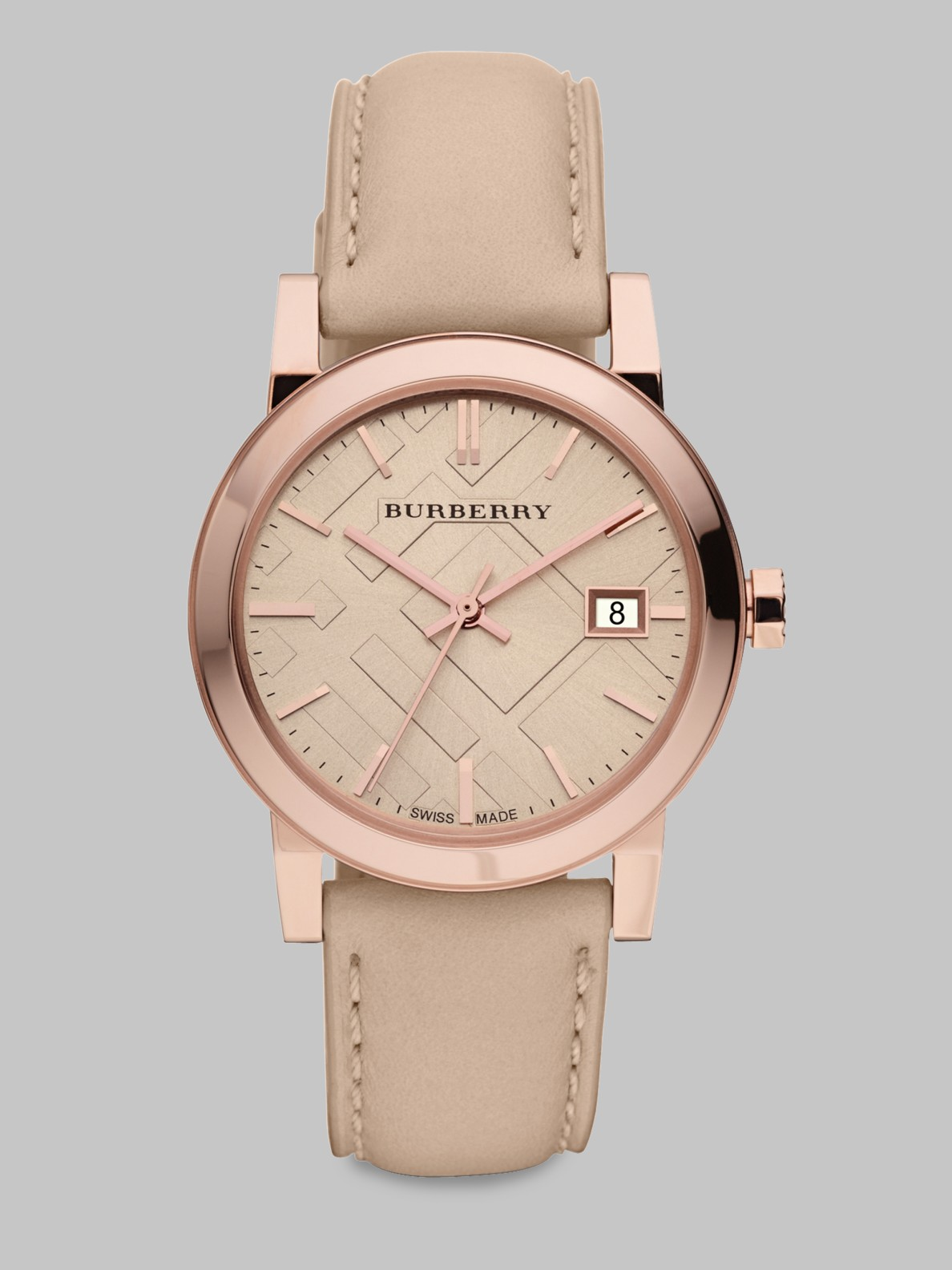 Lyst Burberry Check Stamped Leather Strap Watch Nude In