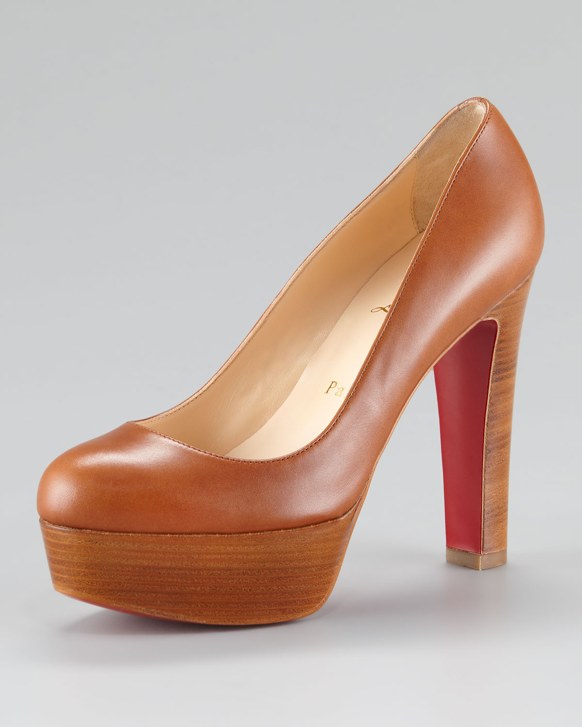 brand new 58d52 7b6bd Christian Louboutin Brown Bibi Chunky Heel Pump