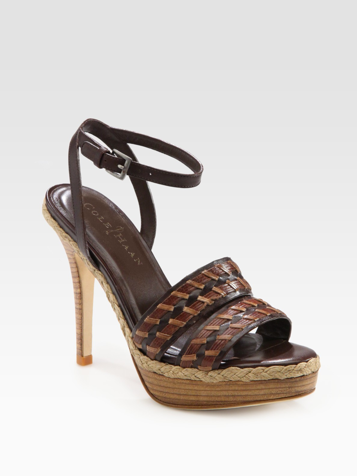 Cole Haan Vanessa Air Woven Leather Platform Sandals In
