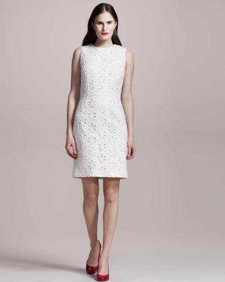 Giambattista Valli Sangallo-lace Sleeveless Dress in White (ivory)