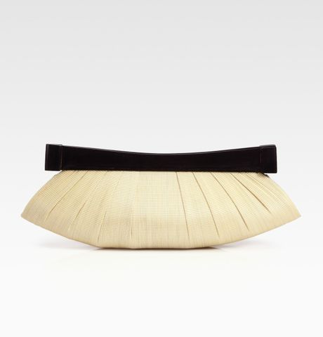 Josie Natori Buntal/wood Clutch in Beige