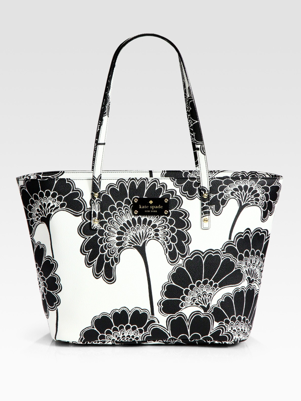 Kate Spade Harmony Floral Vinyl Tote Bag In Black White