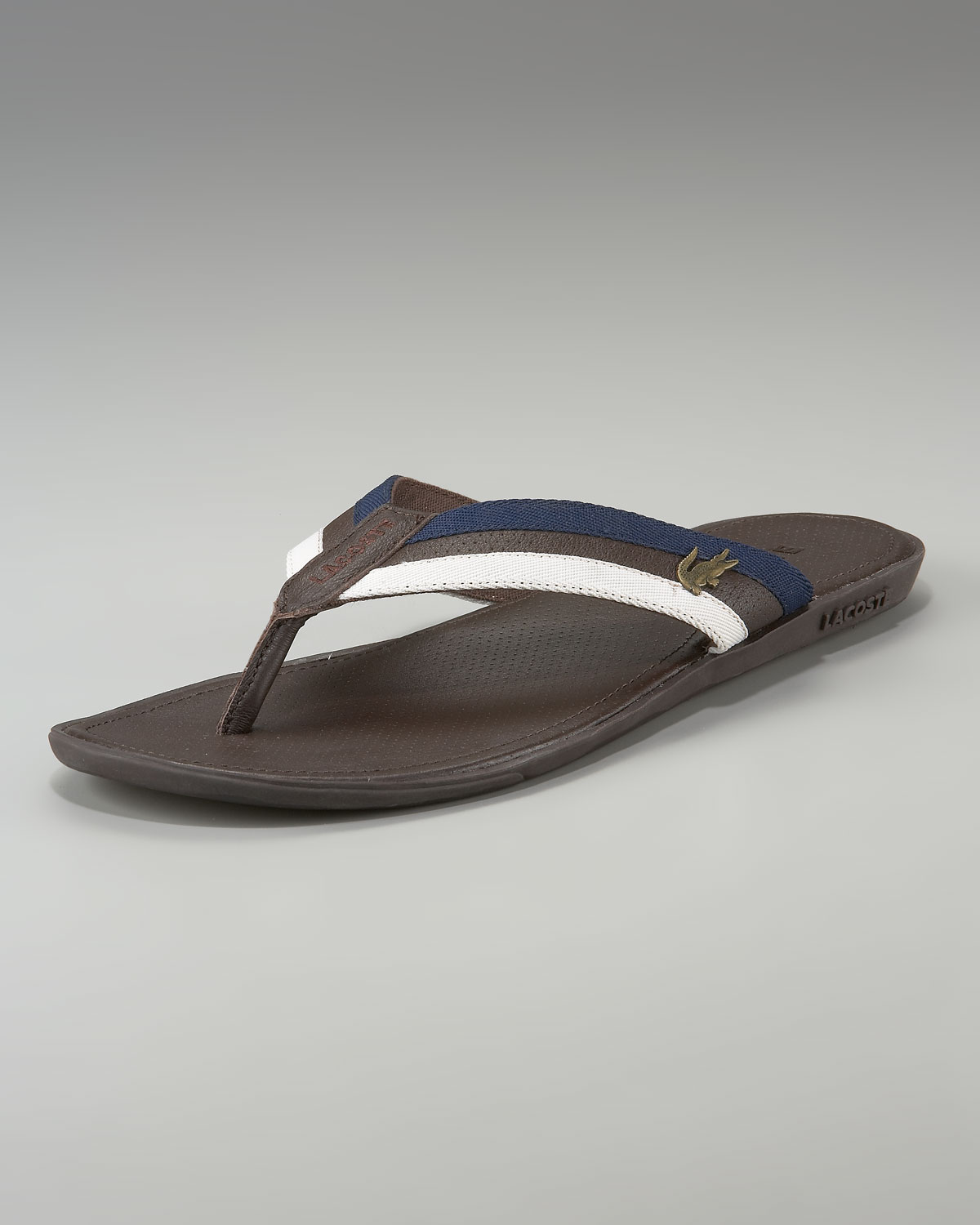 61c639a2e Lyst - Lacoste Carros Striped Flip-flop in Brown for Men