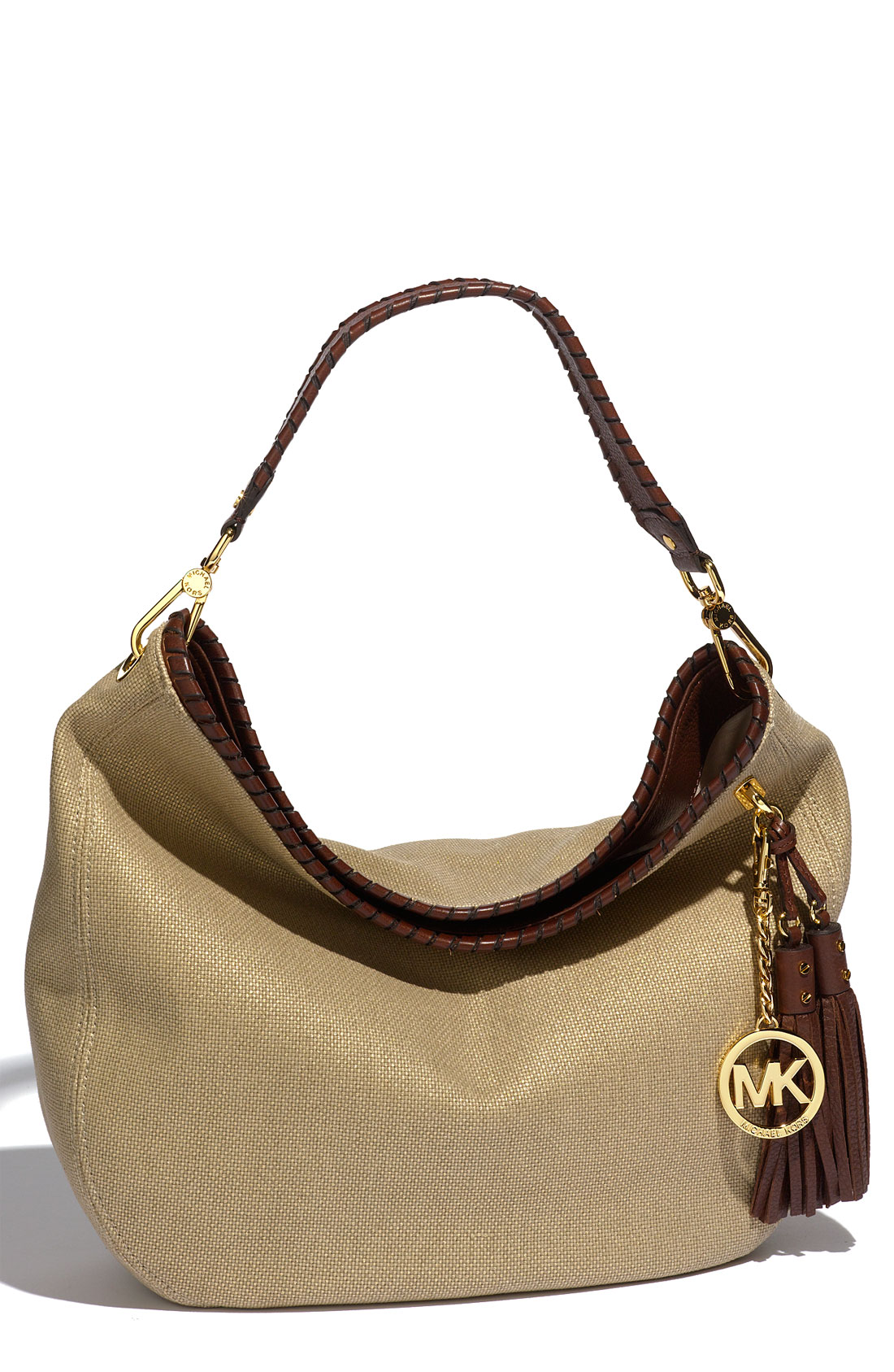 michael michael kors bennet large hobo in brown gold metallic lyst. Black Bedroom Furniture Sets. Home Design Ideas