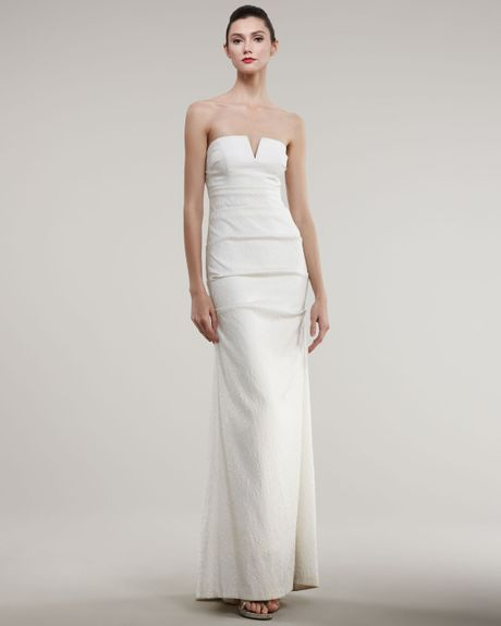 Nicole miller strapless split neck jacquard gown in white for Nicole miller wedding dresses nordstrom