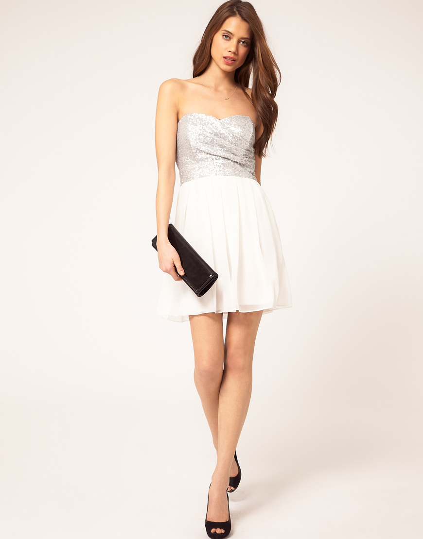 420fa91dcfe Lyst - TFNC London Tfnc Dress with Sequin Bandeau   Chiffon Skirt in ...