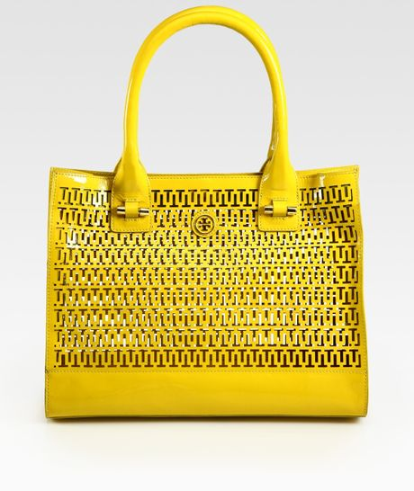 Tory Burch Mini Georgiana Patent Leather Tote Bag in Yellow - Lyst