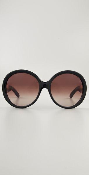 Saint Laurent Oversized Round Sunglasses In Black Lyst