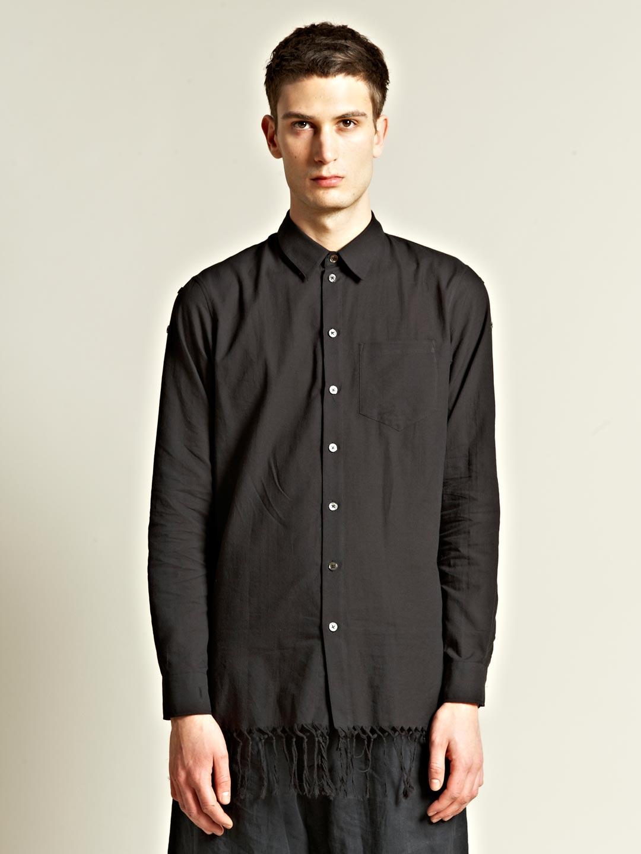 Ann demeulemeester mens joan fringe shirt in black for men for Mens shirt with tassels
