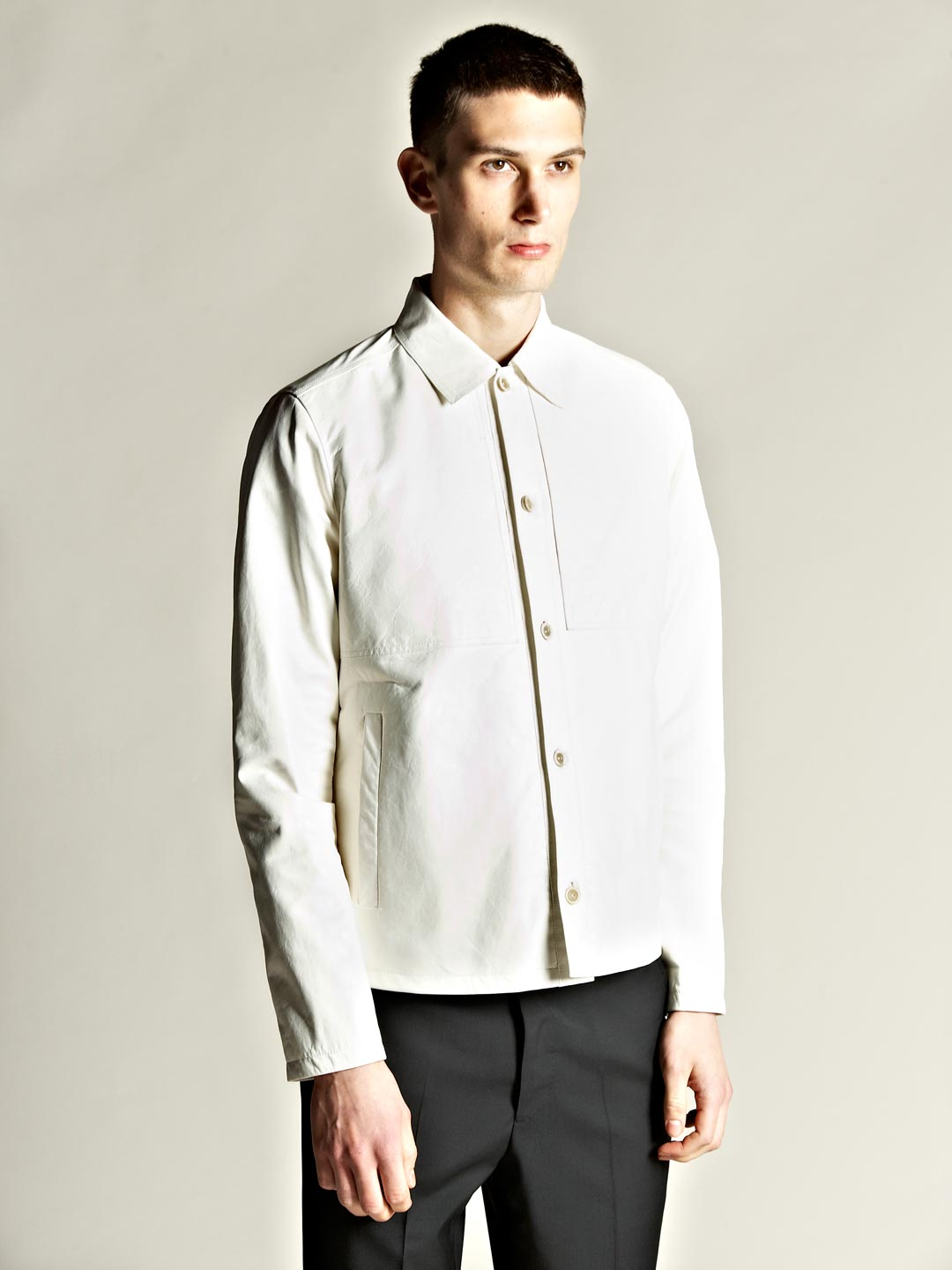 lyst jil sander mens twins leather jacket in white for men. Black Bedroom Furniture Sets. Home Design Ideas