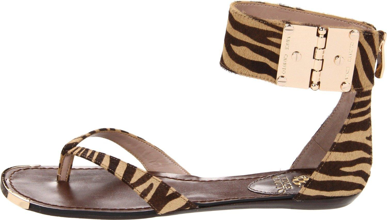 Vince Camuto Kastern Flat Sandals In Beige Natural Zebra