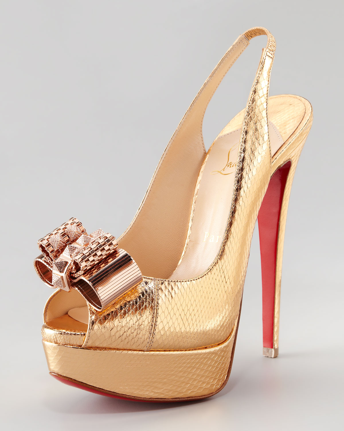 louboutin spiked sneakers - Christian louboutin Lady Peep Slingback Pump in Gold | Lyst
