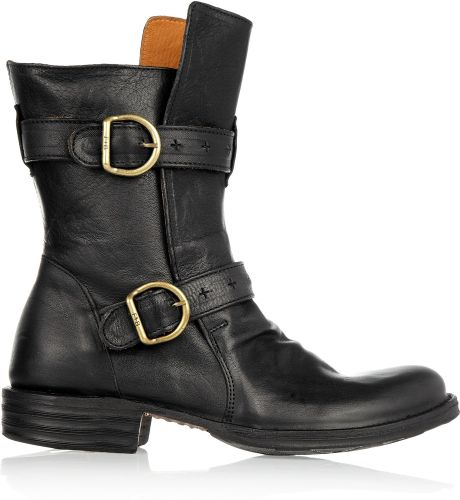 fiorentini baker eternity buckled leather boots in black. Black Bedroom Furniture Sets. Home Design Ideas