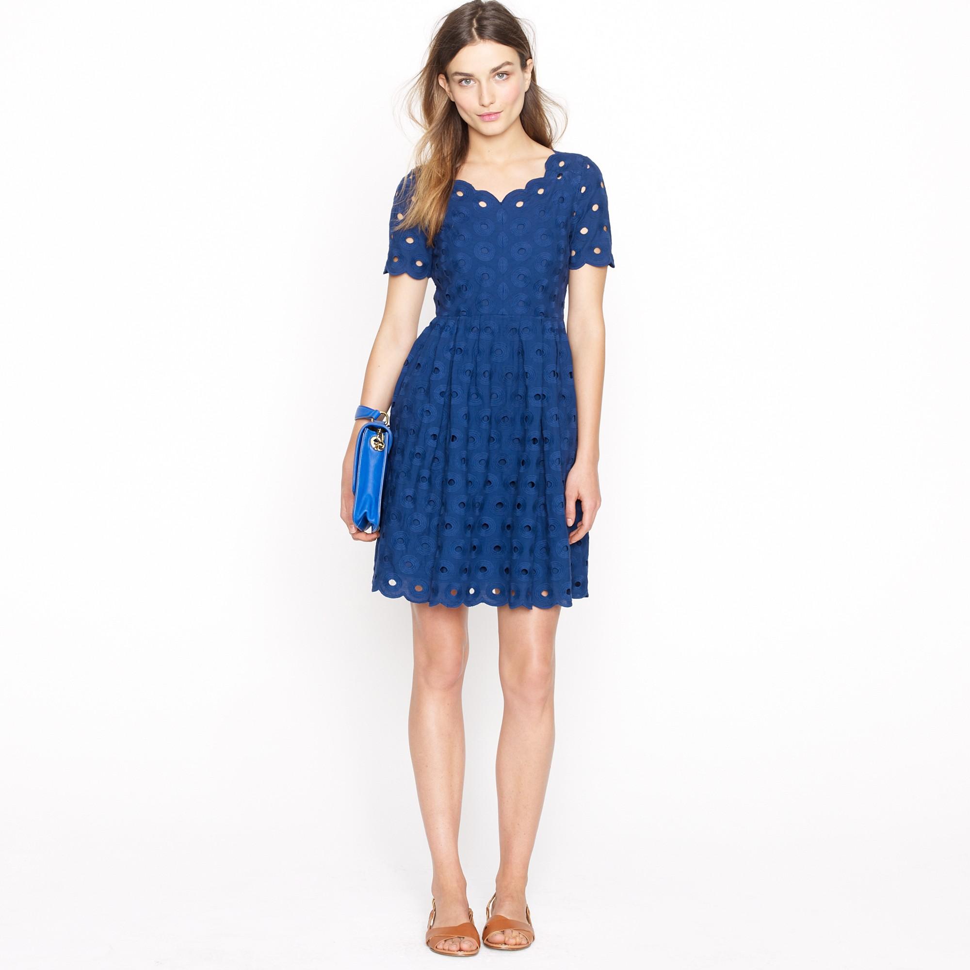 J.crew Circle Eyelet Dress in Blue  Lyst