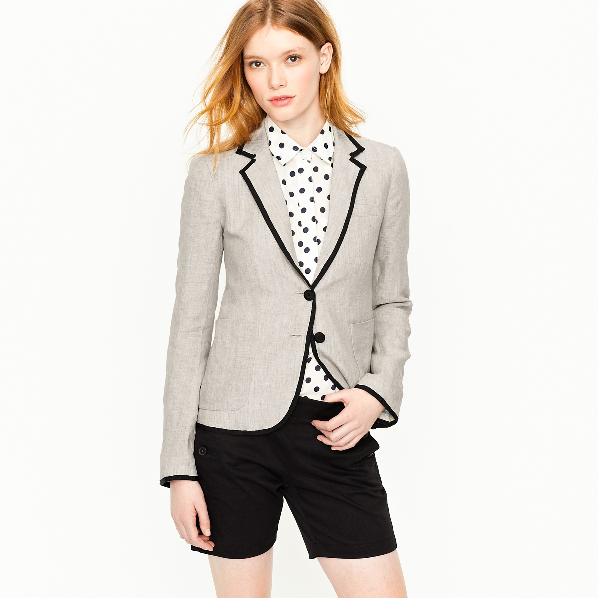 J.crew Classic Schoolboy Blazer In Tipped Linen in Natural | Lyst