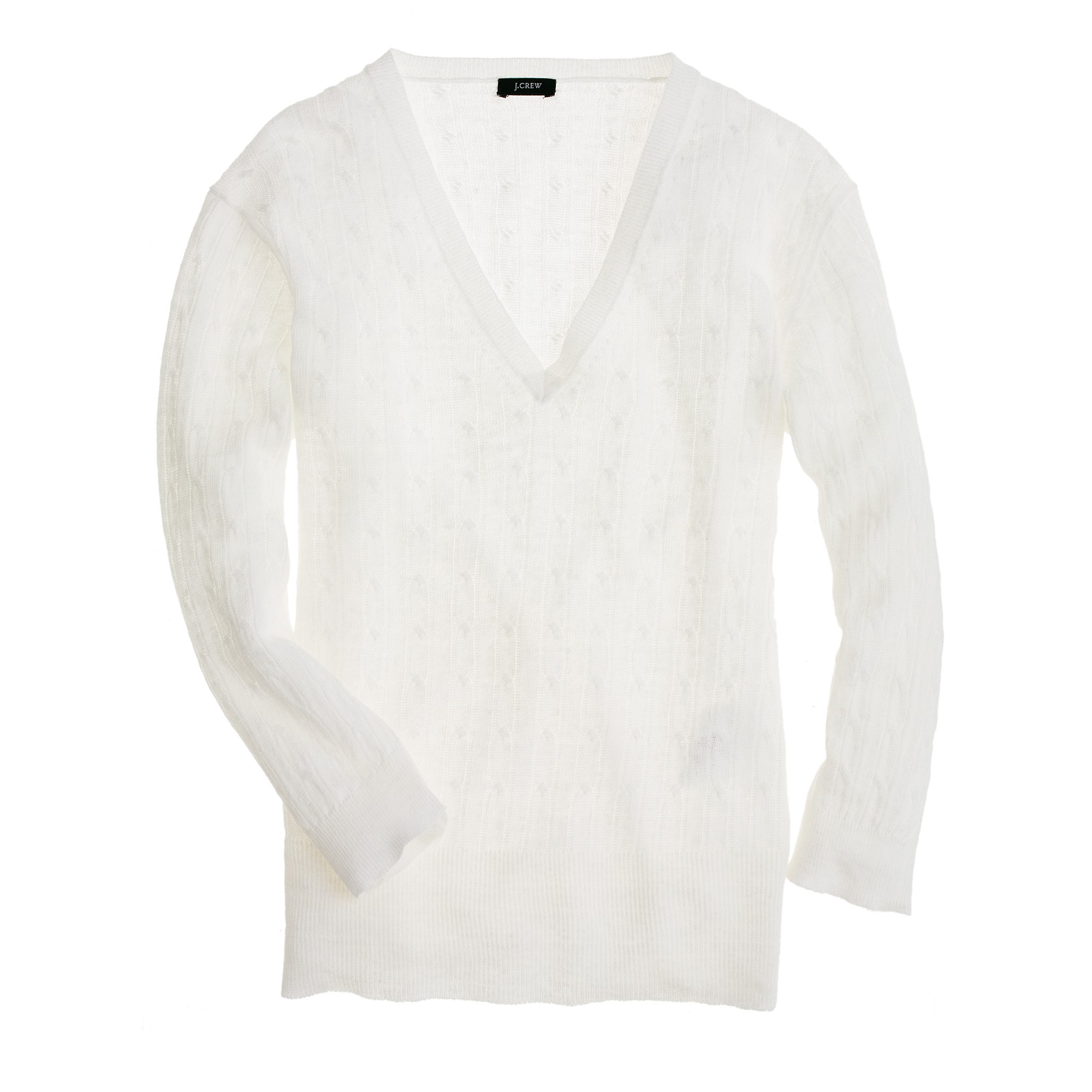 Lyst Jew Linen V Neck Cable Knit Sweater In White