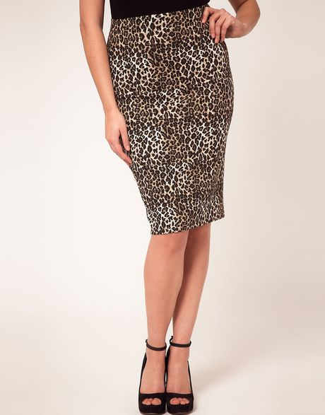 asos curve midi skirt in leopard print in brown multi lyst