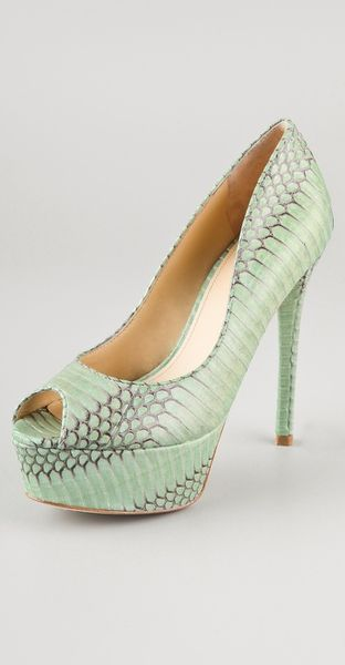 B Brian Atwood Bambola Snake Pumps in Green (mint)