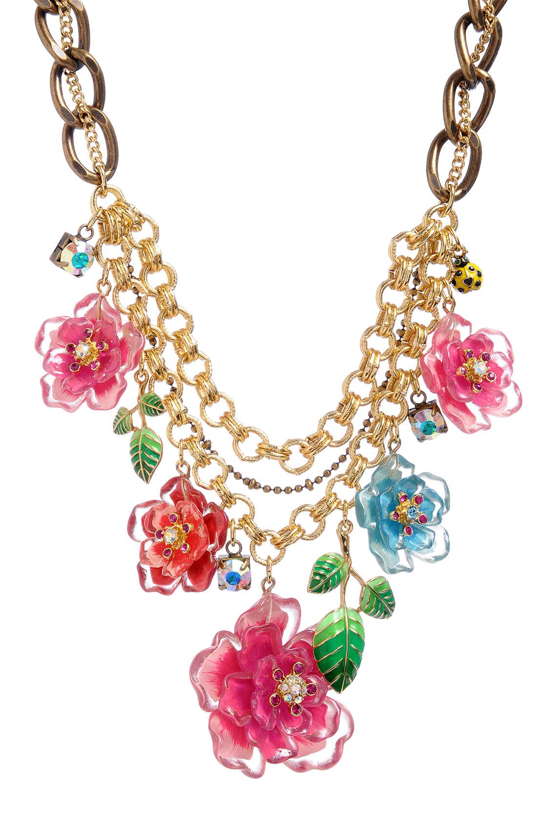 Betsey Johnson Hawaiian Luau Floral Bib Statement Necklace