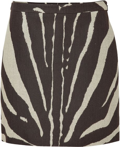 Beige And Coffee Plaid Print Linen Contemporary Bedroom: Michael Kors Beige And Brown Zebra Print Linen Skirt In