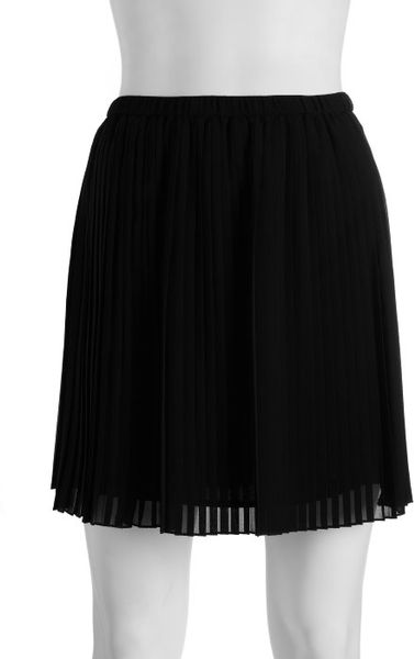 bcbgeneration black accordion pleated mini skirt in black