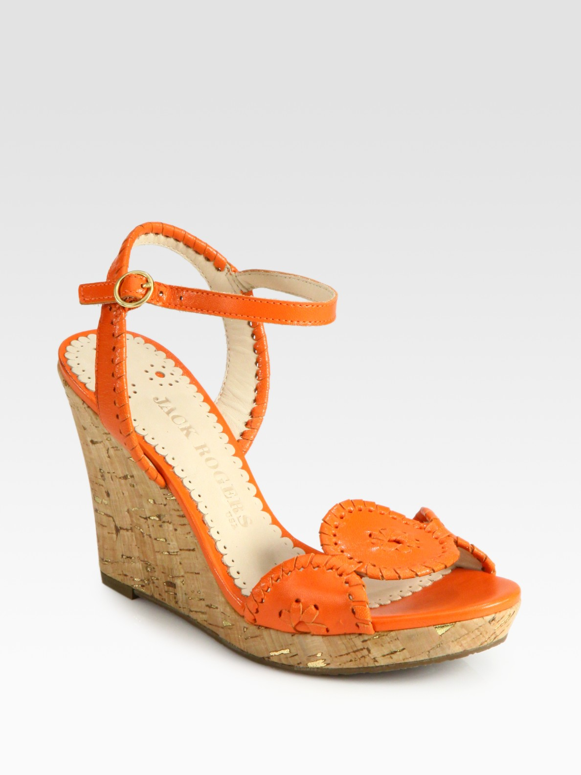 Lyst Jack Rogers Clare Leather Amp Cork Wedge Sandals In