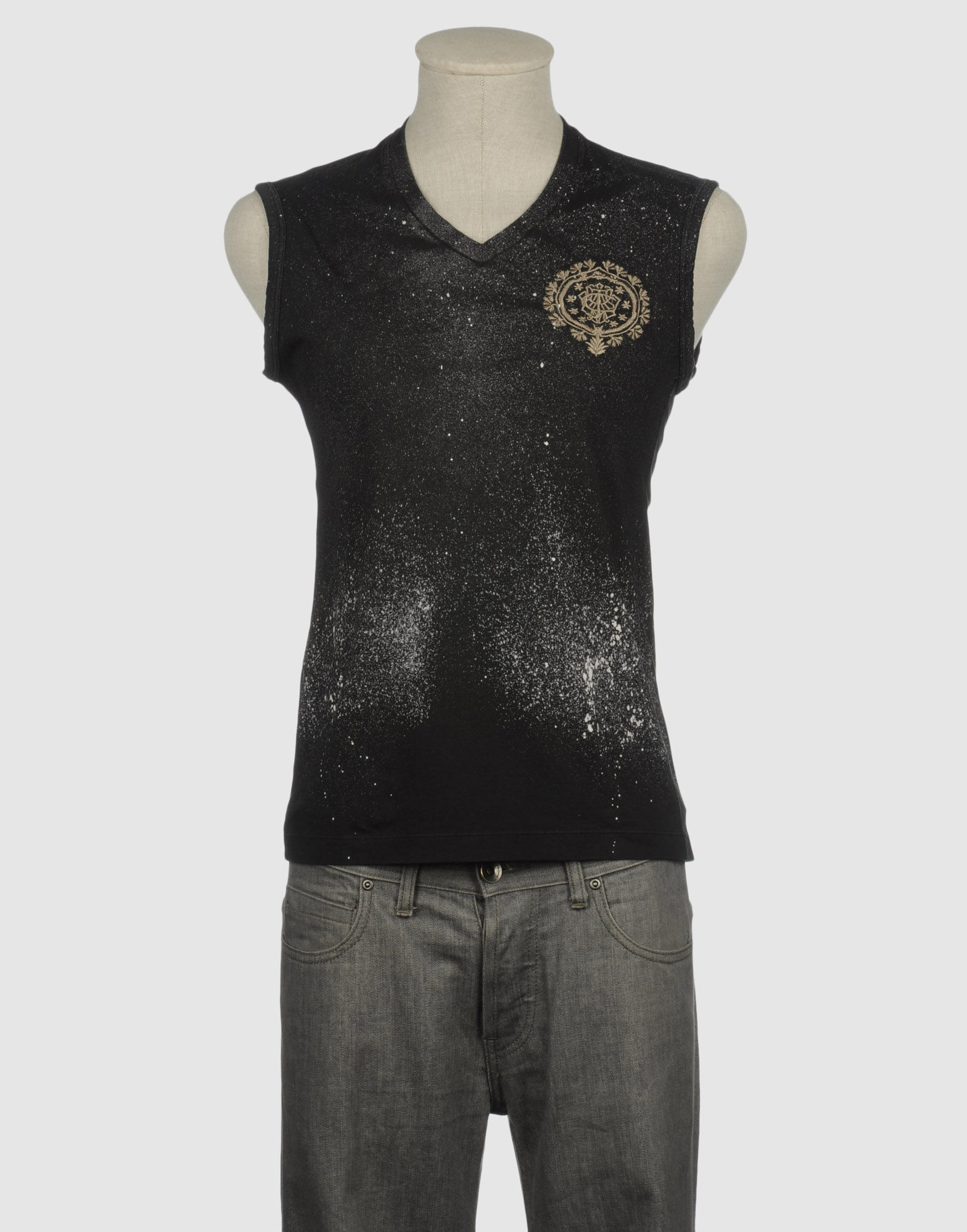 Just Cavalli Sleeveless T Shirts In Black For Men Lyst