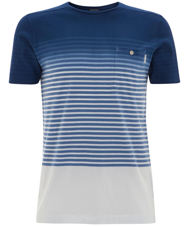 Lyst paul smith dip dye stripe t shirt in blue for men for Mens dip dye shirt
