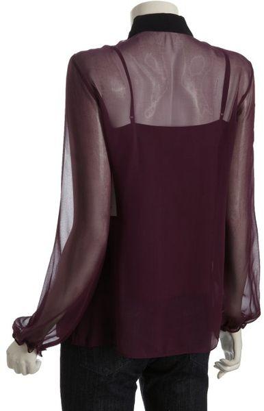 Robert Rodriguez Berry Silk Chiffon Long Sleeve Bow Neck