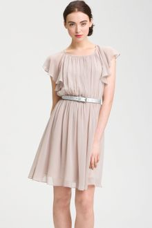 Calvin Klein Butterfly Sleeve Pleated Chiffon Dress - Lyst
