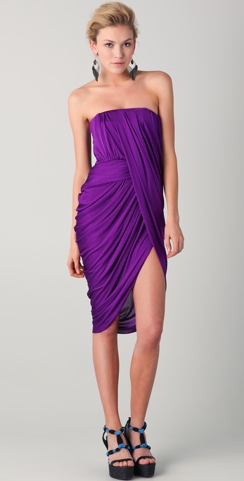 Doo. ri Strapless Dress with Asymmetrical Draped Front in Purple ...